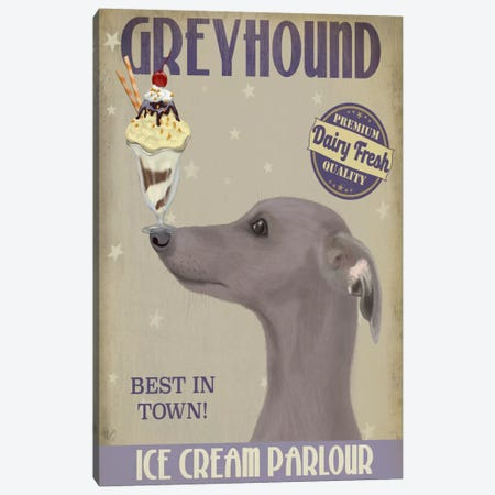 Greyhound, Grey, Ice Cream Canvas Print #FNK684} by Fab Funky Canvas Print