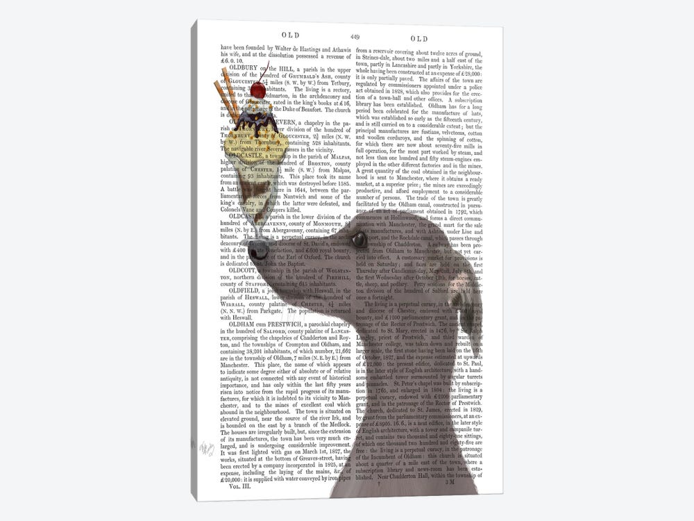 Greyhound, Grey, Ice Cream, Print BG by Fab Funky 1-piece Canvas Art Print
