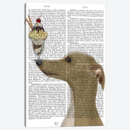 Greyhound, Tan, Ice Cream, Print BG Canvas Print #FNK687} by Fab Funky Canvas Art Print