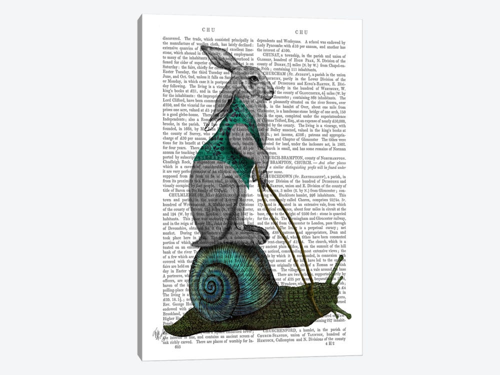 Hare and Snail by Fab Funky 1-piece Canvas Print