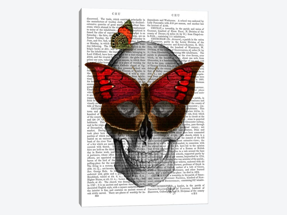 Pink Butterfly Mask Skull by Fab Funky 1-piece Canvas Art