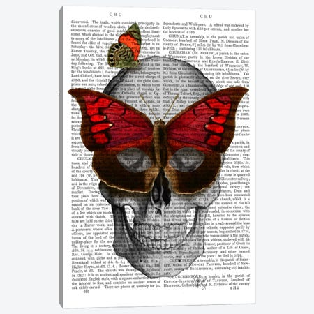 Pink Butterfly Mask Skull Canvas Print #FNK68} by Fab Funky Canvas Print