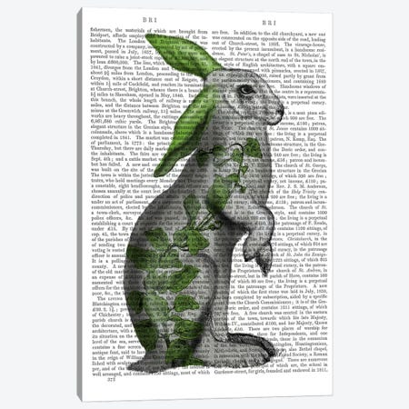 Hare with Green Ears Canvas Print #FNK690} by Fab Funky Canvas Art Print