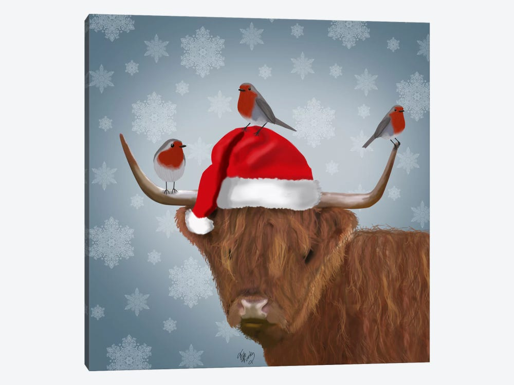 Highland Cow and Robins 1-piece Canvas Artwork