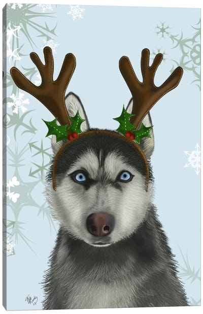 Husky and Antlers Canvas Art Print