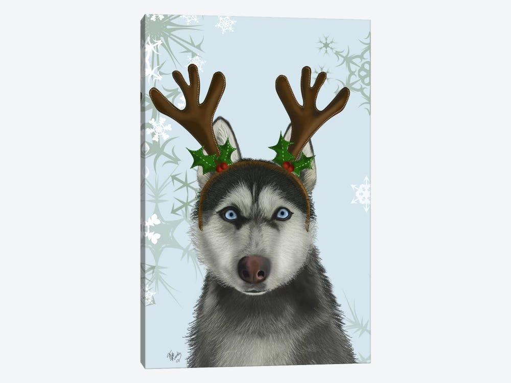 Husky and Antlers by Fab Funky 1-piece Canvas Wall Art