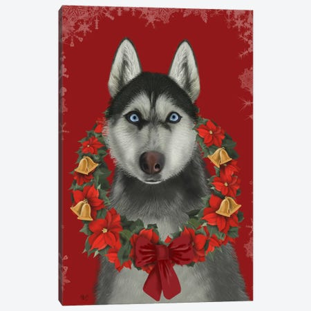 Husky and Poinsettia Wreath Canvas Print #FNK694} by Fab Funky Canvas Art