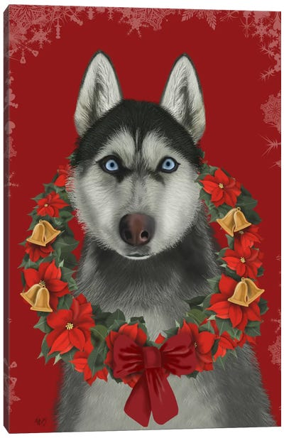 Husky and Poinsettia Wreath Canvas Art Print
