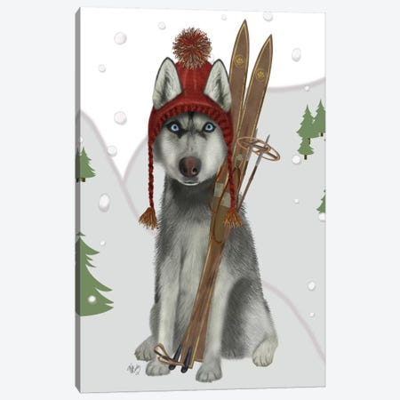 Husky Skiing Canvas Print #FNK697} by Fab Funky Canvas Art