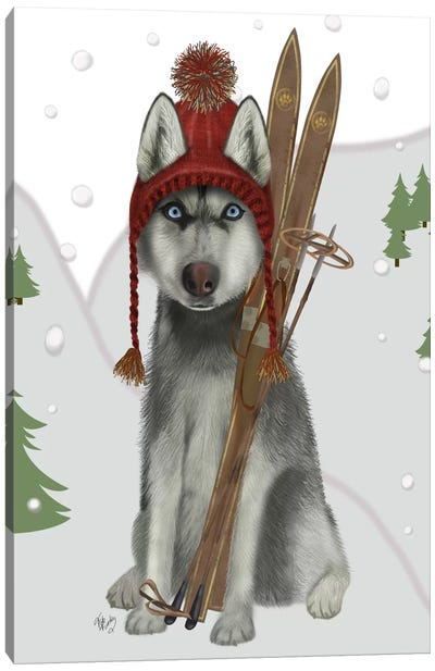 Husky Skiing Canvas Art Print