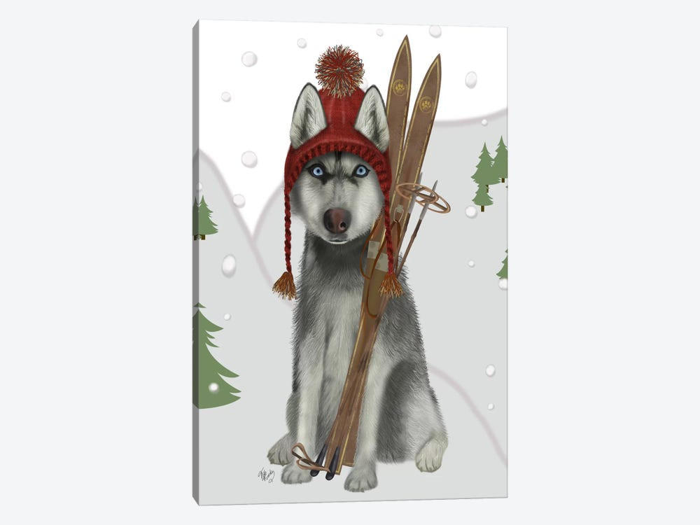 Husky Skiing by Fab Funky 1-piece Canvas Wall Art