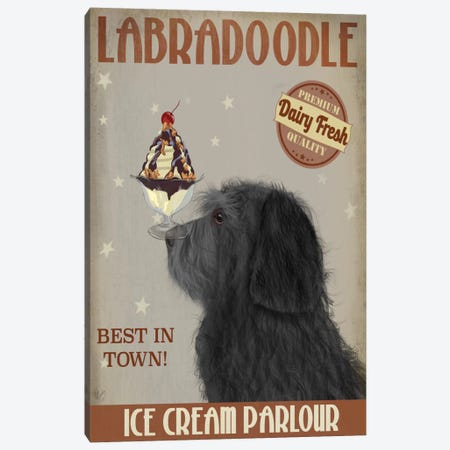 Labradoodle, Black, Ice Cream Canvas Print #FNK698} by Fab Funky Art Print