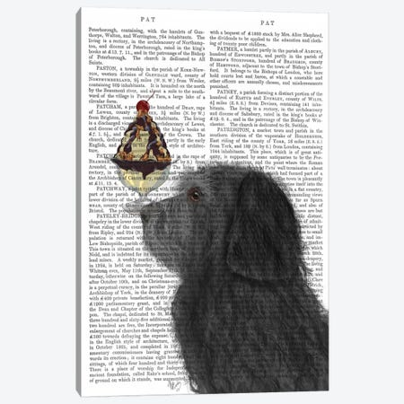 Labradoodle, Black, Ice Cream, Print BG Canvas Print #FNK699} by Fab Funky Canvas Print
