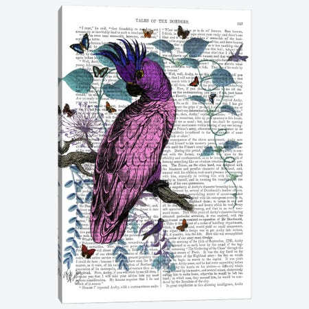 Pink Parrot Canvas Print #FNK69} by Fab Funky Canvas Art Print