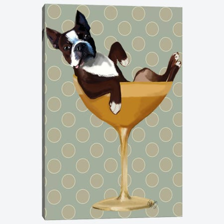 Boston Terrier In Cocktail Glass Canvas Print #FNK6} by Fab Funky Canvas Art Print