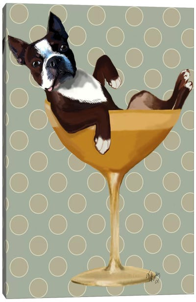 Boston Terrier In Cocktail Glass Canvas Art Print