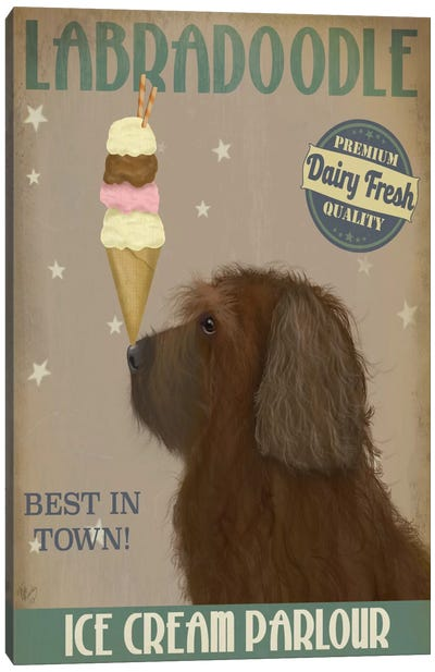 Labradoodle, Brown, Ice Cream Canvas Art Print