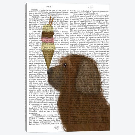 Labradoodle, Brown, Ice Cream, Print BG Canvas Print #FNK701} by Fab Funky Canvas Print