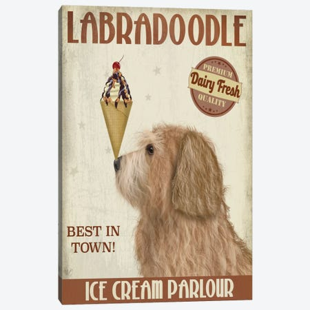 Labradoodle, Golden, Ice Cream Canvas Print #FNK702} by Fab Funky Canvas Art Print