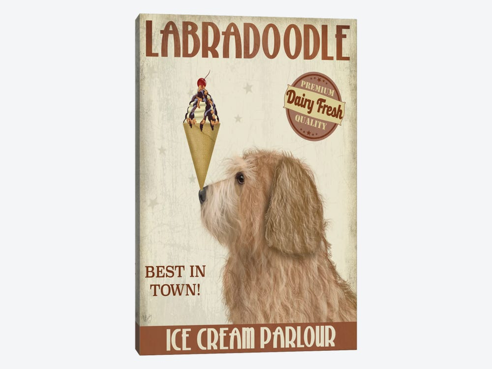 Labradoodle, Golden, Ice Cream by Fab Funky 1-piece Canvas Print