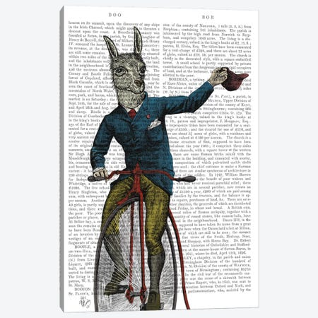 Llama on Bike Canvas Print #FNK708} by Fab Funky Art Print