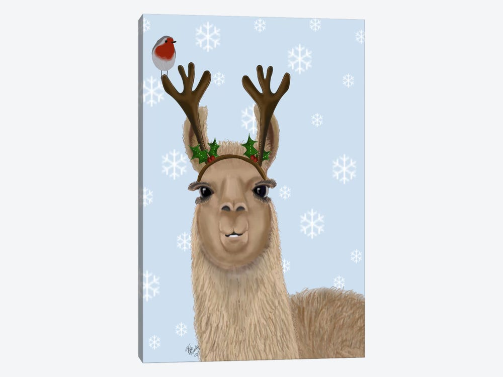 Llama, Antlers by Fab Funky 1-piece Canvas Art