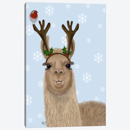 Llama, Antlers Canvas Print #FNK709} by Fab Funky Canvas Print