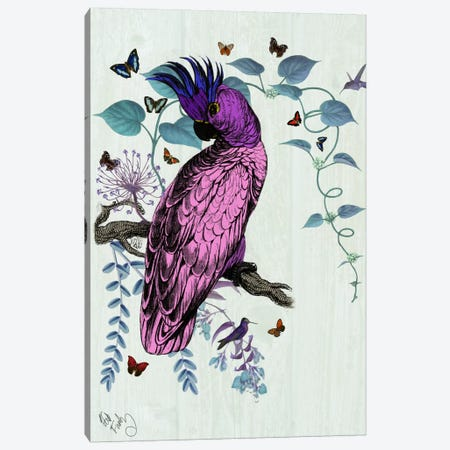 Pink Parrot Canvas Print #FNK70} by Fab Funky Canvas Art