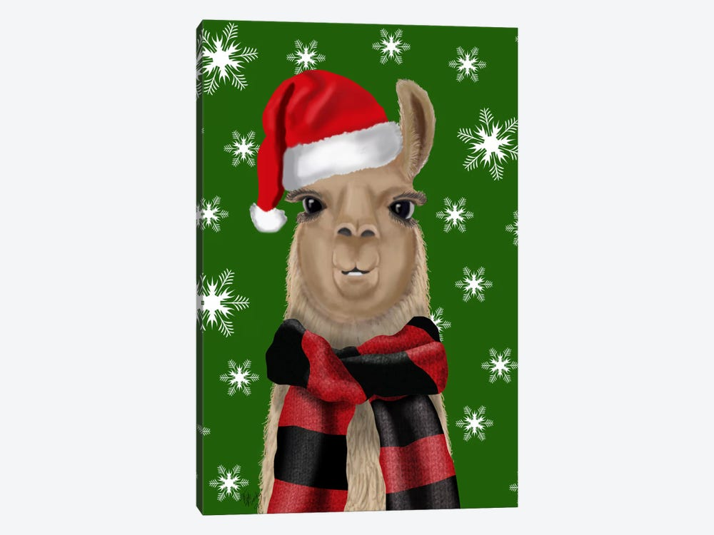Llama, Christmas Hat 1-piece Canvas Art