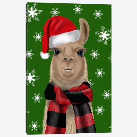 Llama, Christmas Hat Canvas Print #FNK710} by Fab Funky Canvas Art