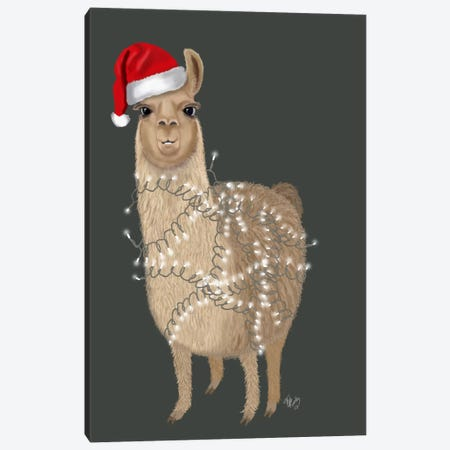 Llama, Christmas Lights 1 Canvas Print #FNK711} by Fab Funky Canvas Wall Art
