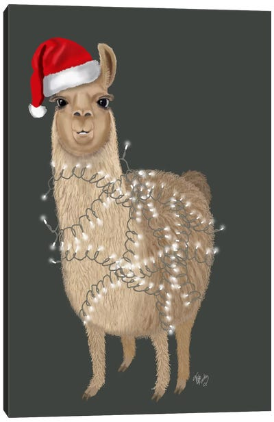 Llama, Christmas Lights 1 Canvas Art Print