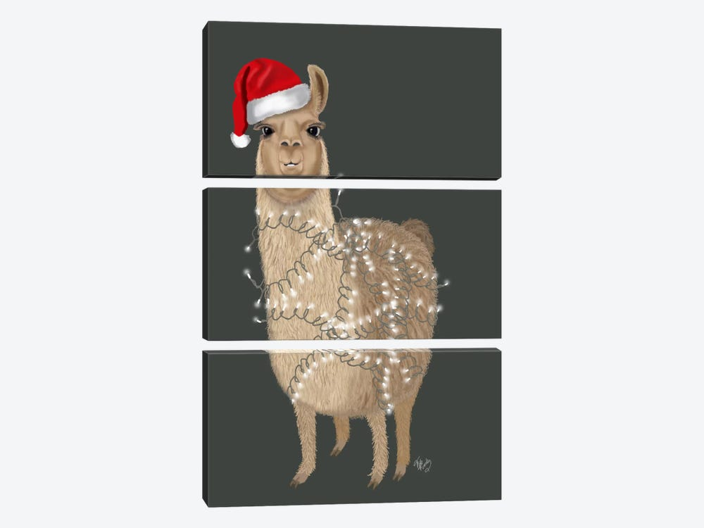Llama, Christmas Lights 1 by Fab Funky 3-piece Canvas Print