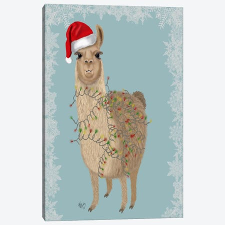 Llama, Christmas Lights 2 Canvas Print #FNK712} by Fab Funky Canvas Art