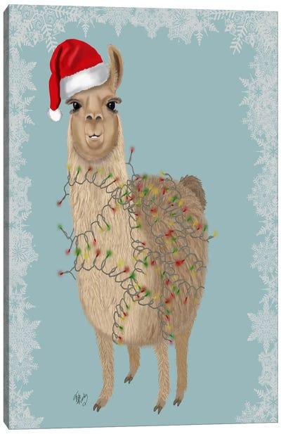 Llama, Christmas Lights 2 Canvas Art Print