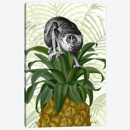 Loris on Pineapple Canvas Print #FNK713} by Fab Funky Canvas Wall Art