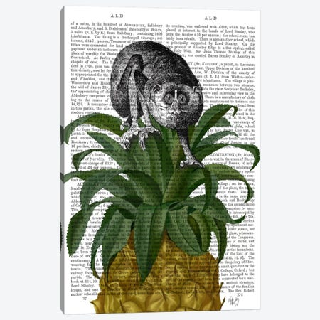 Loris on Pineapple, Print BG Canvas Print #FNK714} by Fab Funky Canvas Print