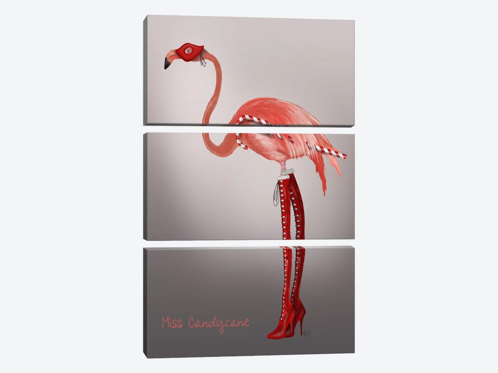 Miss Candy Cane by Fab Funky 3-piece Canvas Wall Art
