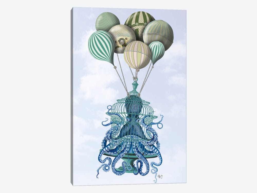 Octopus Cage and Balloons by Fab Funky 1-piece Canvas Art Print