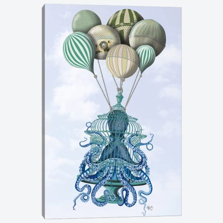Octopus Cage and Balloons Canvas Print #FNK720} by Fab Funky Canvas Art Print
