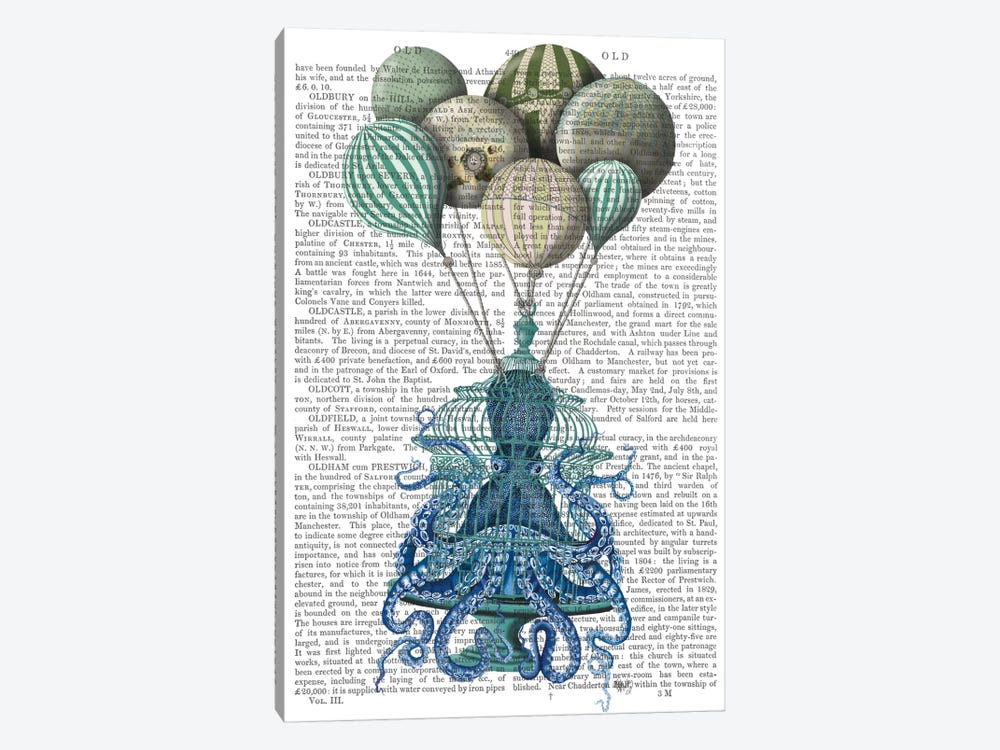 Octopus Cage and Balloons, Print BG by Fab Funky 1-piece Canvas Art
