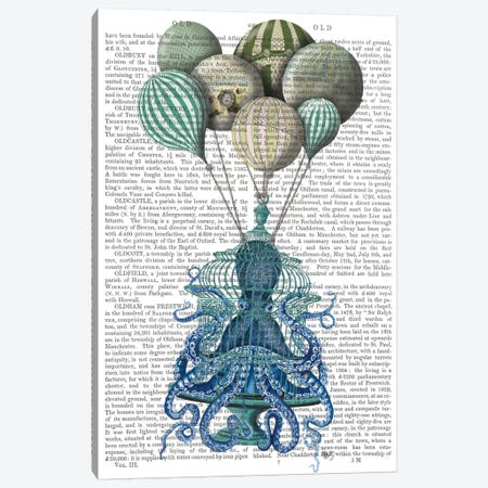 Octopus Cage and Balloons, Print BG Canvas Print #FNK721} by Fab Funky Art Print