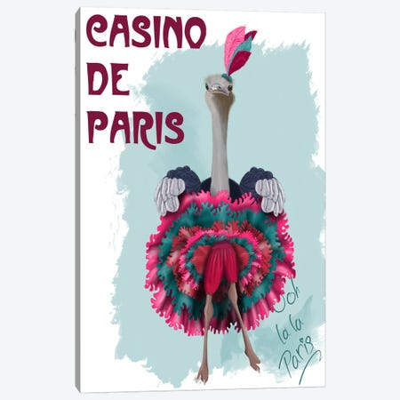 Ostrich, Can Can in Pink and Turquoise Canvas Print #FNK723} by Fab Funky Canvas Print