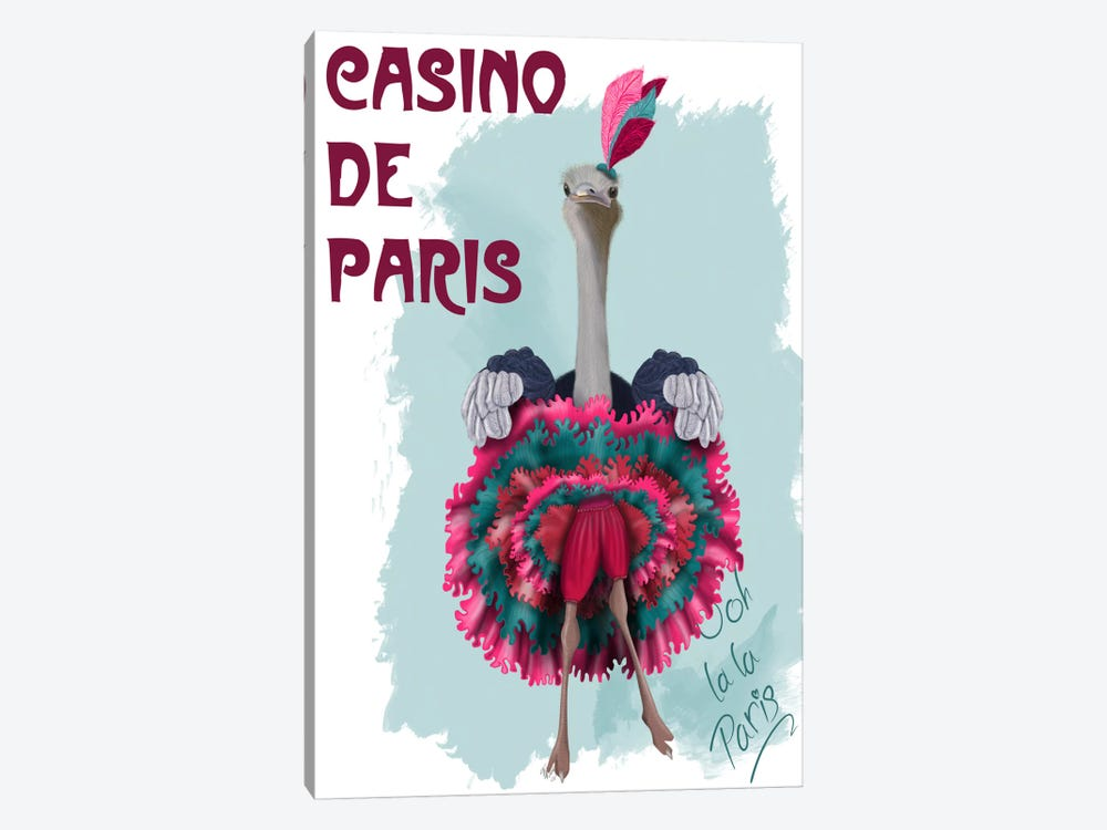 Ostrich, Can Can in Pink and Turquoise by Fab Funky 1-piece Canvas Wall Art