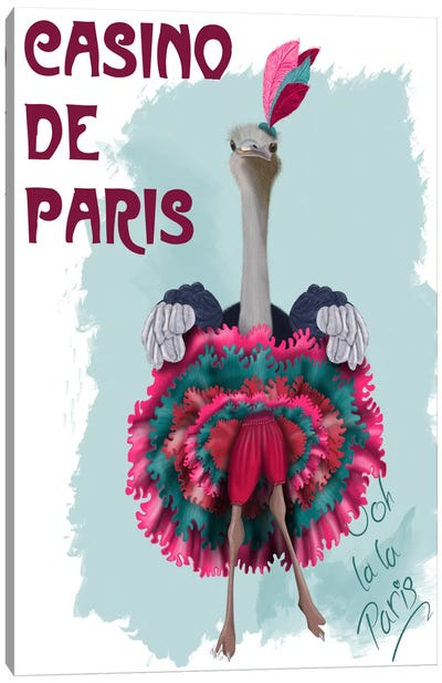 Ostrich, Can Can in Pink and Turquoise Canvas Art Print