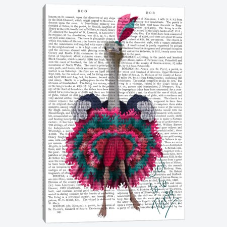 Ostrich, Can Can in Pink and Turquoise, Print BG Canvas Print #FNK724} by Fab Funky Canvas Wall Art