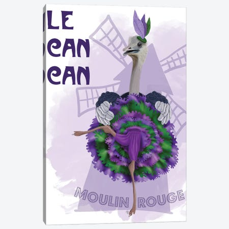 Ostrich, Can Can in Purple and Green Canvas Print #FNK725} by Fab Funky Canvas Artwork