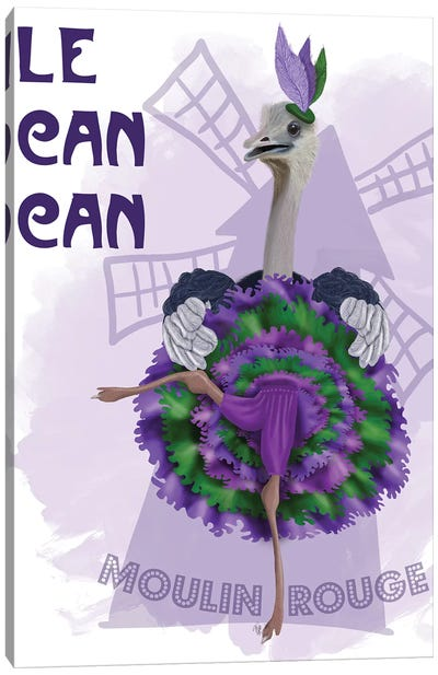 Ostrich, Can Can in Purple and Green Canvas Art Print