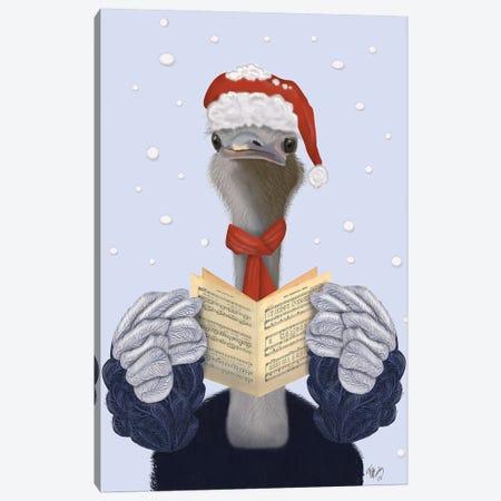Ostrich, Carol Singing 3-Piece Canvas #FNK729} by Fab Funky Art Print
