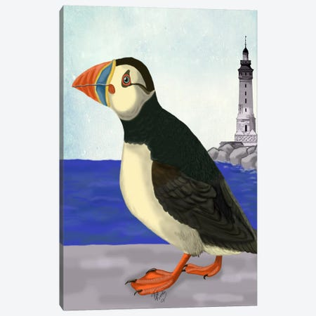 Puffin On The Quay Canvas Print #FNK72} by Fab Funky Canvas Art